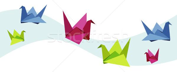 Csoport különböző origami hattyú vibráló színek Stock fotó © cienpies