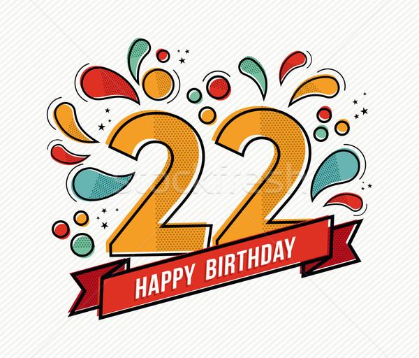 Kolorowy urodziny numer 22 line projektu Zdjęcia stock © cienpies
