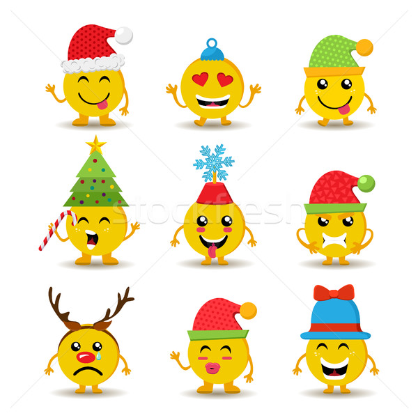 Holiday emoji icon set for christmas and new year Stock photo © cienpies