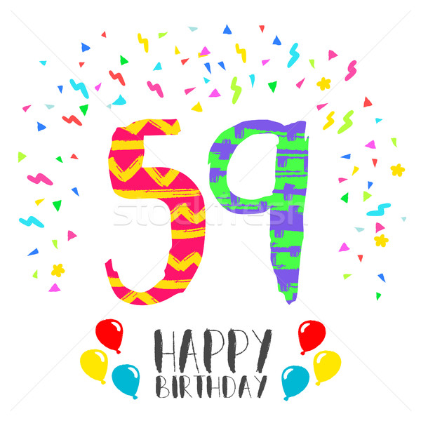 Happy Birthday for 59 year party invitation card Stock photo © cienpies