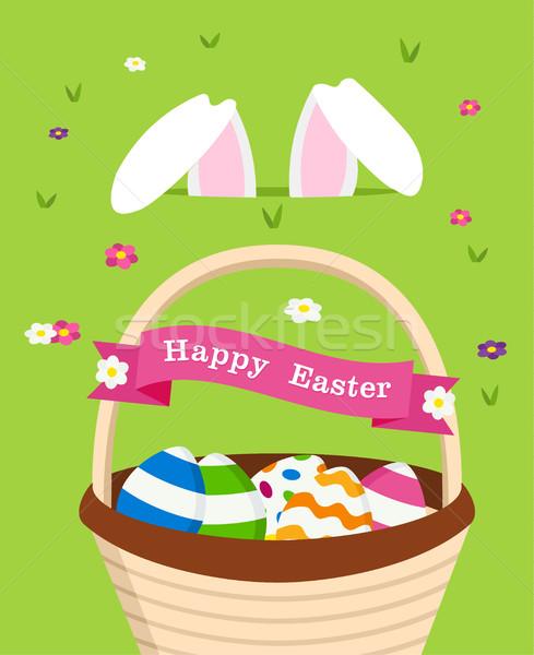 Kellemes húsvétot kártya nyuszi ünnep tojások ünneplés Stock fotó © cienpies