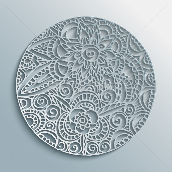 Flower mandala paper cut handmade decoration Stock photo © cienpies