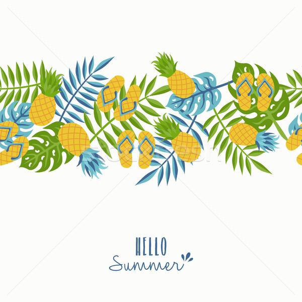 привет лет тропические ананаса шаблон дизайна Сток-фото © cienpies