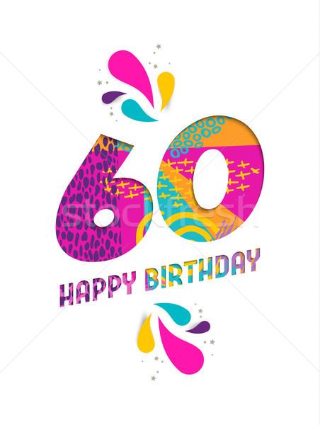 お誕生日おめでとうございます 60 年 紙 カット グリーティングカード ストックフォト © cienpies