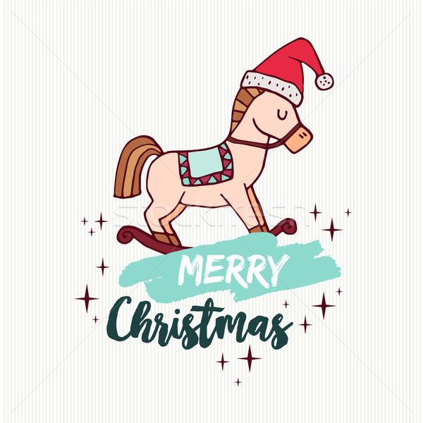Crăciun balansoar cal jucărie vacanţă desen animat card Imagine de stoc © cienpies