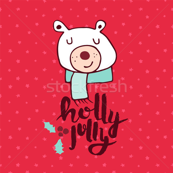 Natale rosso orso polare doodle biglietto d'auguri allegro Foto d'archivio © cienpies