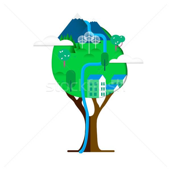 Groene stad boom milieu zorg groene boom Stockfoto © cienpies