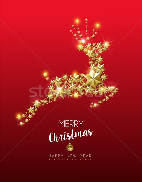 Weihnachten Neujahr Gold Sterne Rentiere Karte Stock foto © cienpies