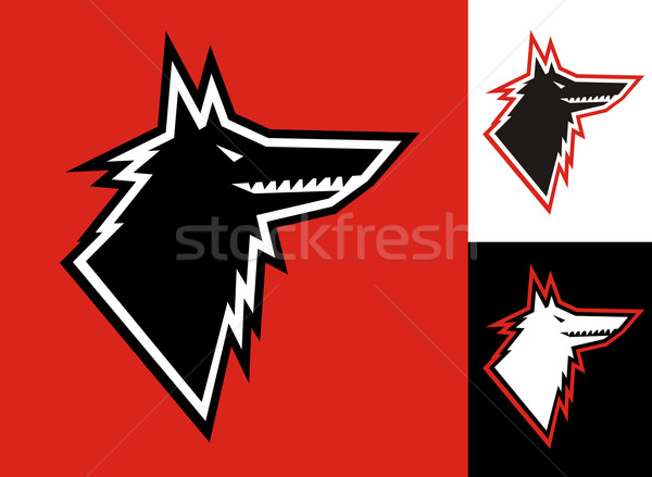 Wolf head icon Stock photo © cienpies