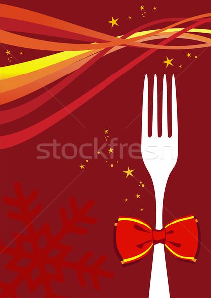 Рождества приборы меню дизайна сезон вилка Сток-фото © cienpies