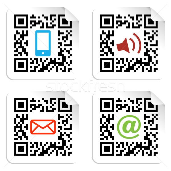 Medios de comunicación social código qr signo etiqueta iconos Foto stock © cienpies