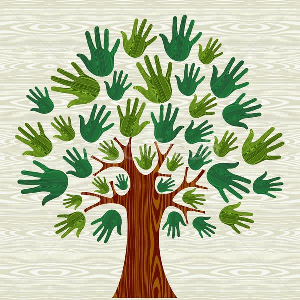 árvore mãos ilustração cartão Foto stock © cienpies