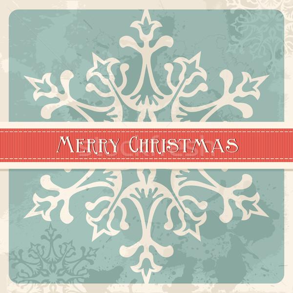 Klasszikus vidám karácsony hópehely képeslap boldog Stock fotó © cienpies