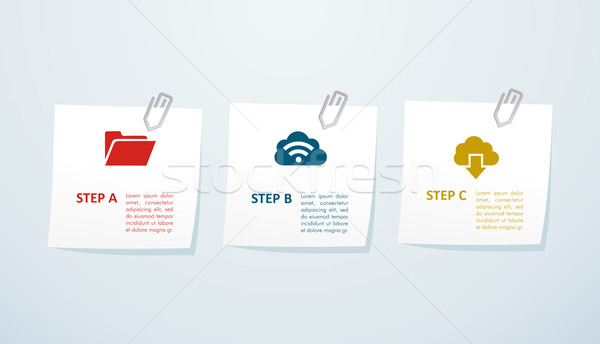 Cloud storage info graphic steps. Stock photo © cienpies