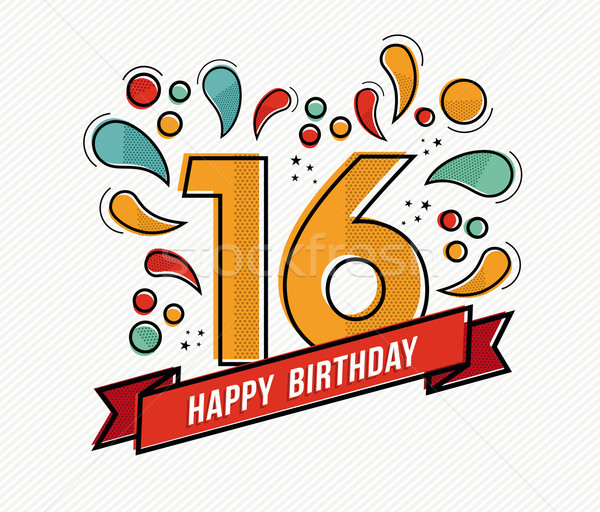 Colorful happy birthday number 16 flat line design Stock photo © cienpies