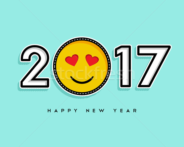 Happy New Year 2017 stitch patch icon card design Stock photo © cienpies