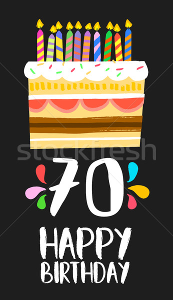 Happy Birthday cake card for 70 seventy year party Stock photo © cienpies