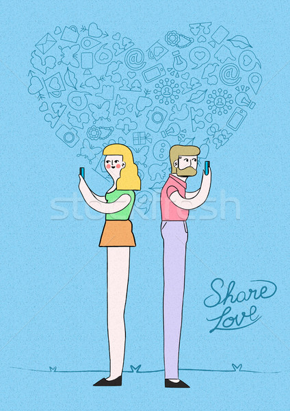Man and woman online meeting love concept design Stock photo © cienpies