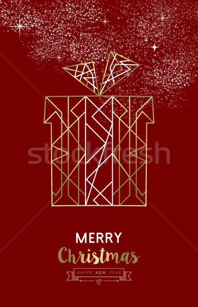 Merry christmas new year gift outline gold deco  Stock photo © cienpies