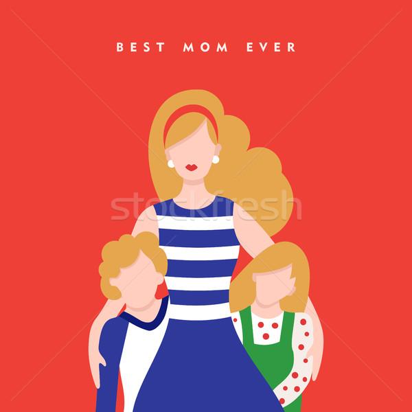 Feliz dia das mães crianças amor cartão ilustração mamãe Foto stock © cienpies