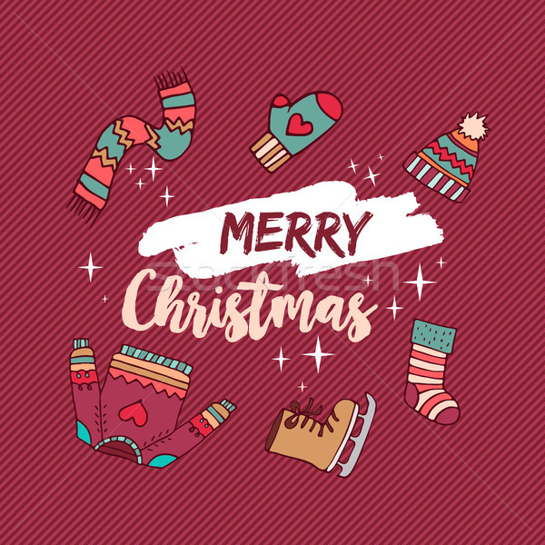 Christmas holiday winter clothes cartoon card Stock photo © cienpies