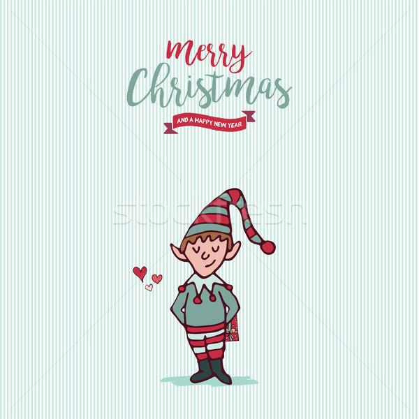 Christmas and new year holiday elf cartoon card Stock photo © cienpies