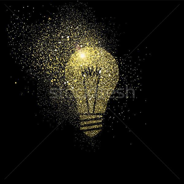 Villanykörte arany csillámlás művészet illusztráció szimbólum Stock fotó © cienpies