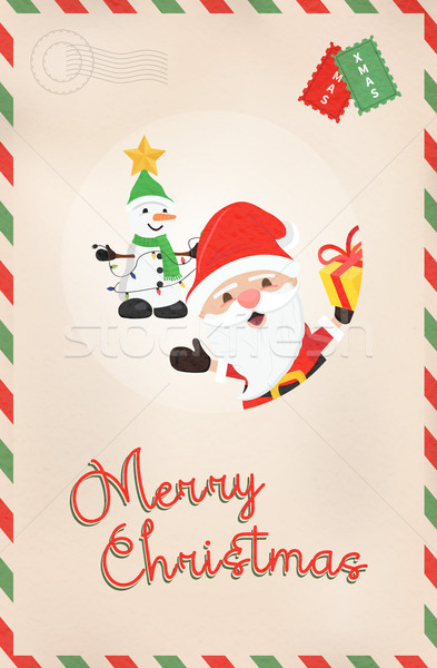 Christmas vintage santa claus and snowman postcard Stock photo © cienpies