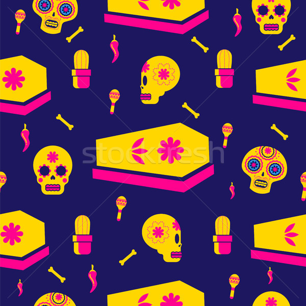 Day of the dead holiday skull seamless pattern Stock photo © cienpies