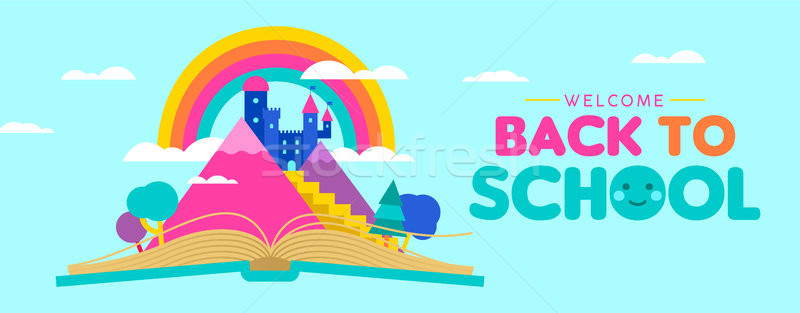 Back to school web banner for kid reading concept Stock photo © cienpies