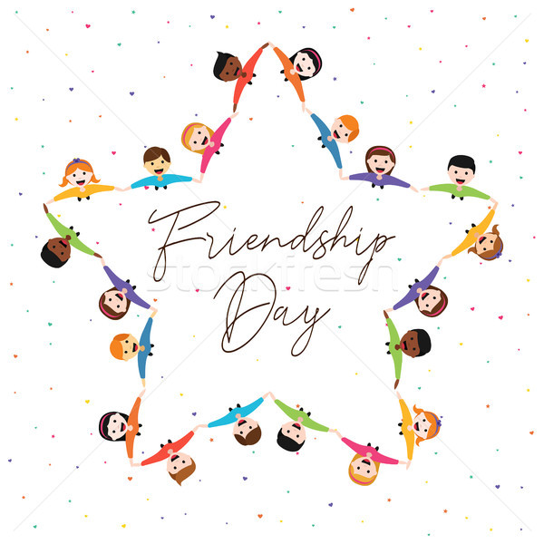Friendship Day card of star shape friend group Stock photo © cienpies