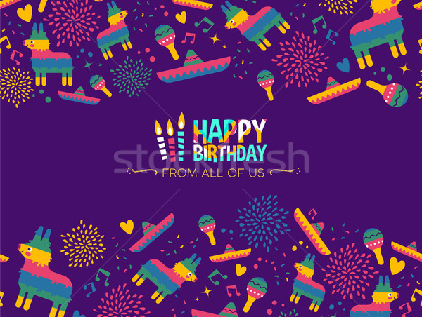 Happy birthday mexican party card design Stock photo © cienpies
