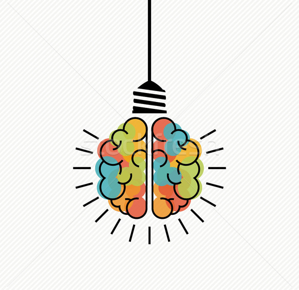 Creative thinking brain light bulb for new ideas Stock photo © cienpies