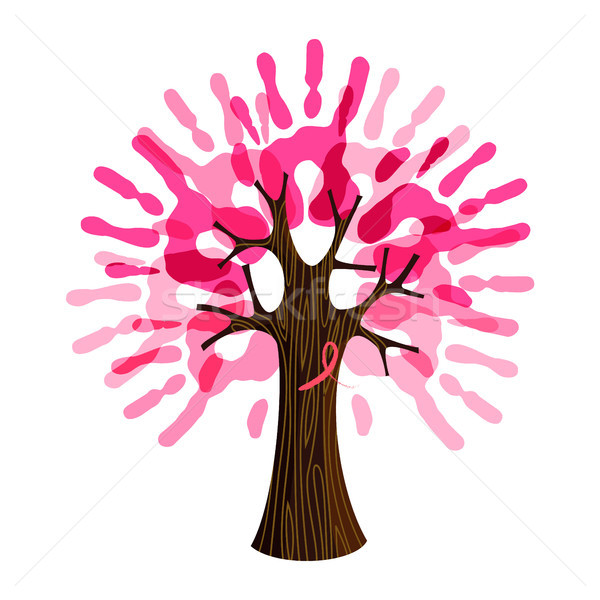 Breast Cancer Care pink hand tree for charity help Stock photo © cienpies