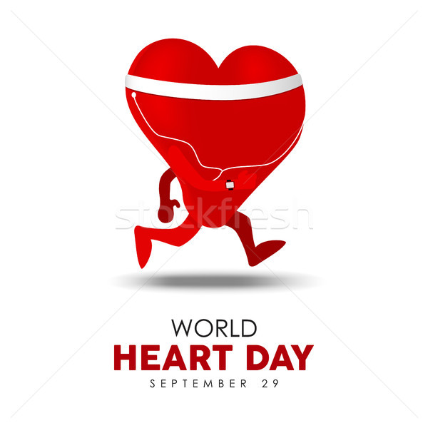 World Heart Day card for exercise and health Stock photo © cienpies