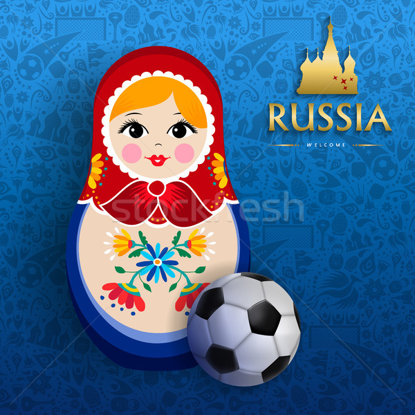 Russian sport event poster of doll and soccer ball Stock photo © cienpies