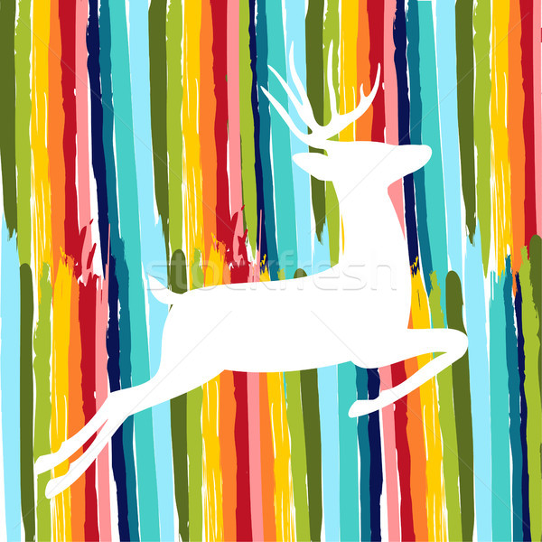 Színes szarvas szín kézzel rajzolt ecset forma Stock fotó © cienpies