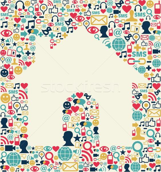 Közösségi média ház textúra ikon szett forma hálózat Stock fotó © cienpies