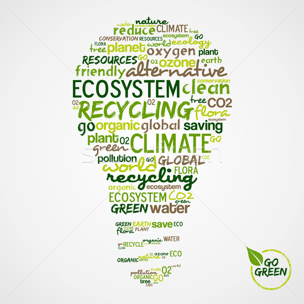 Go Green. Words cloud about environmental conservation in bulb Stock photo © cienpies