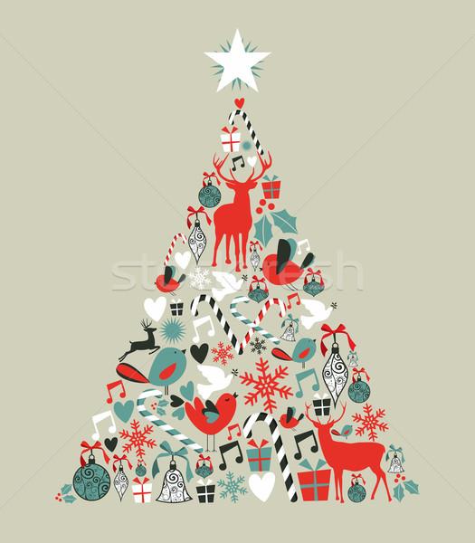 Photo stock: Noël · icônes · arbre · de · pin · forme · carte · de · vœux