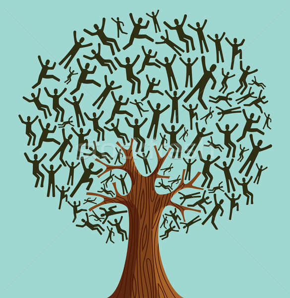 Stock photo: Isolated Diversity Tree people