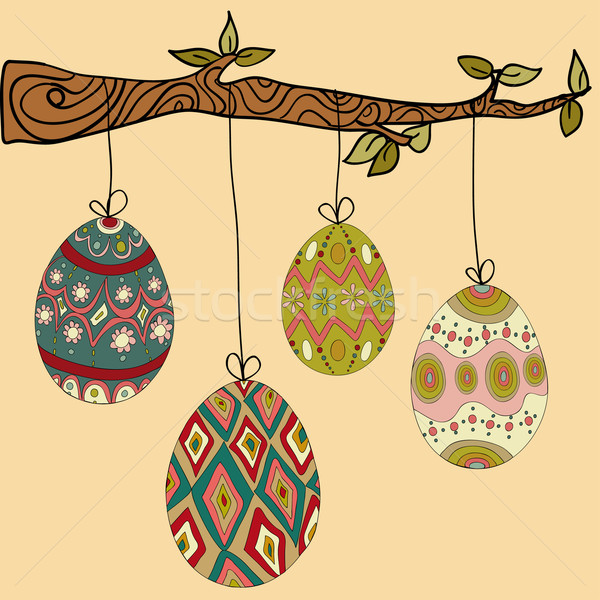 Tree hanging easter eggs Stock photo © cienpies