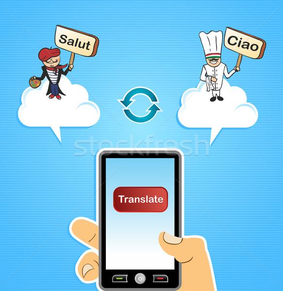 Felhő alapú technológia kéz okostelefon globális emberek francia Stock fotó © cienpies