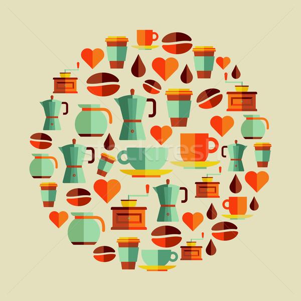 Coffee elements illustration Stock photo © cienpies
