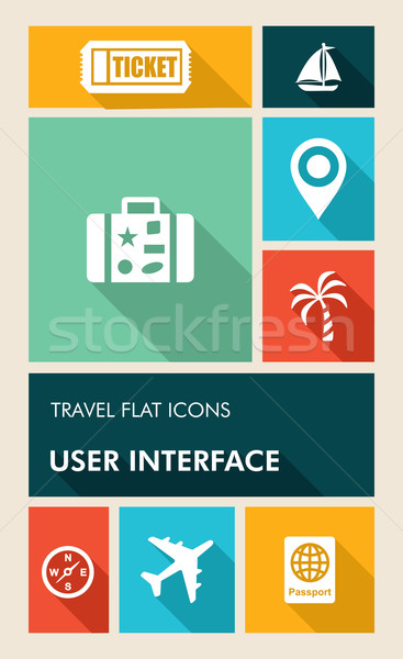 Colorful travel UI apps user interface flat icons. Stock photo © cienpies