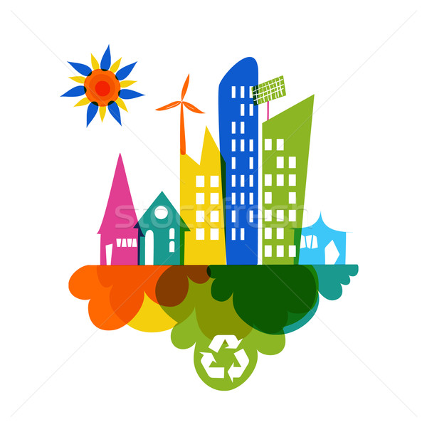 Go green colorful city recycle icon Stock photo © cienpies
