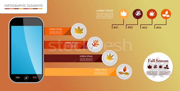 Autumn, Fall season infographic elements graphics template. Stock photo © cienpies