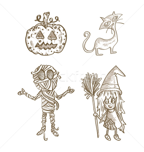 Halloween classics isolated sketch style creatures set. Stock photo © cienpies