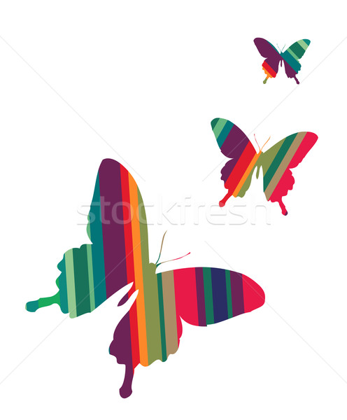 Butterflies on white background Stock photo © cienpies