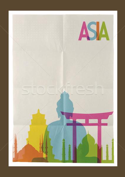 Stock fotó: Utazás · Ázsia · sziluett · klasszikus · híres · papír
